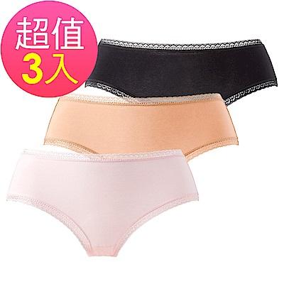 黛安芬-純棉平口褲三件褲包組 M-EL 綜合色系