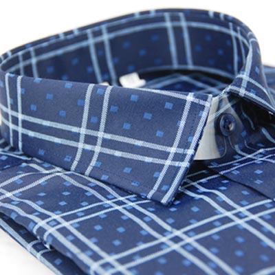 【金安德森】深藍底白線格窄版長袖襯衫