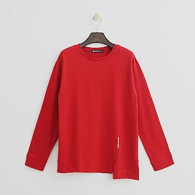 Hang Ten - 女裝 - 棉質素面不對稱T恤-紅色