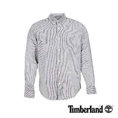 Timberland 男款素色藍直條紋亞麻長袖襯衫|A1VVU