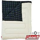 Coleman 33804_橄欖格紋 可拆式冒險者刷毛睡袋 適溫0度露營化纖寢袋/保暖被