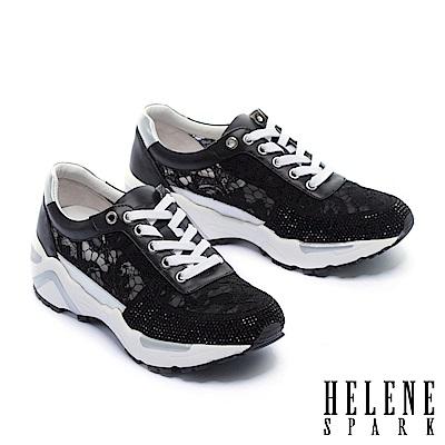 休閒鞋 HELENE SPARK 精緻優雅晶鑽點綴牛皮拼接蕾絲厚底內增高休閒鞋-黑