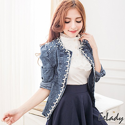 EELADY-珍珠飾鑽短版牛仔外套-藍色