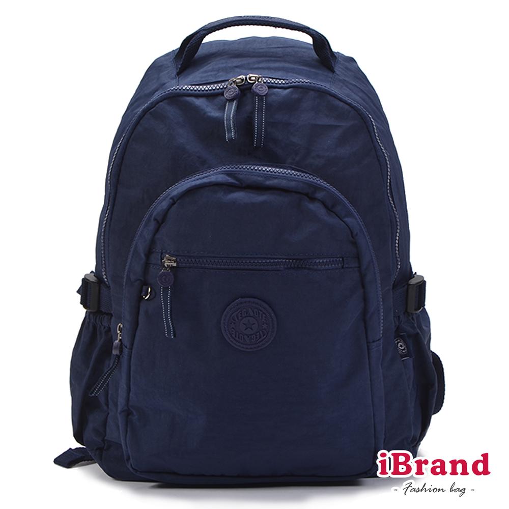 iBrand後背包 簡約素色超輕盈尼龍口袋後背包-深藍色