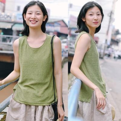 背心-奇異果綠亞麻針織外穿寬鬆無袖上衣-設計所在