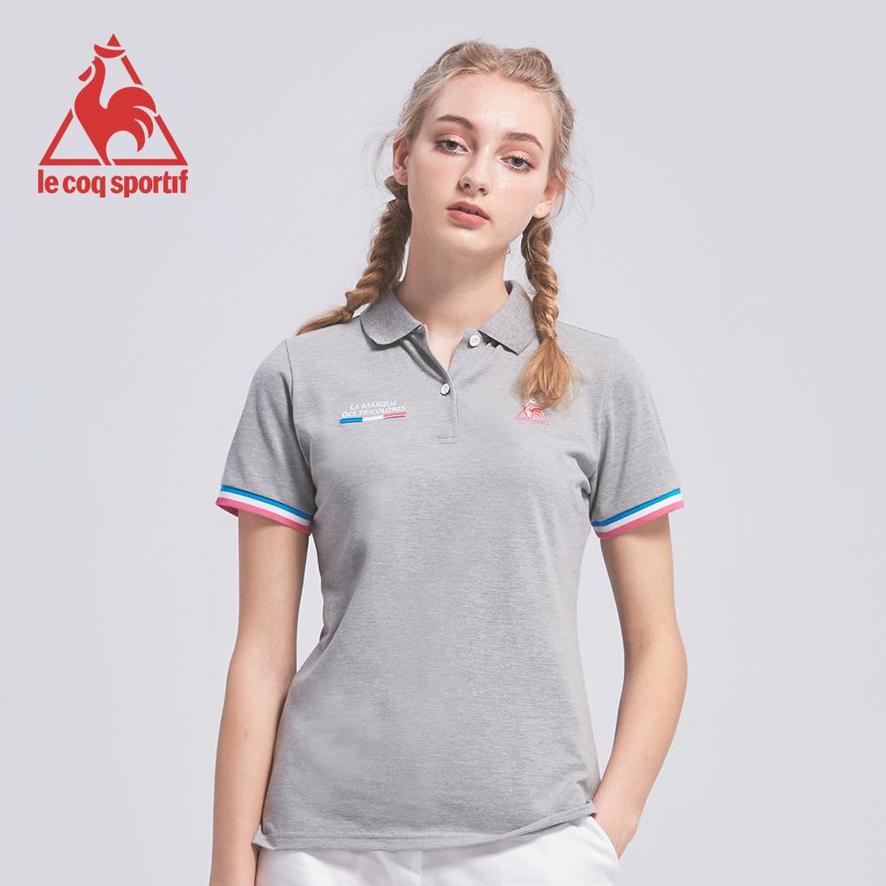 le coq sportif 法國公雞牌吸濕排汗多色經典短袖POLO衫 女-灰