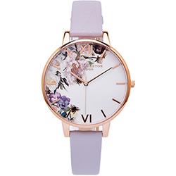 Olivia Burton 蜜糖花朵風皮革手錶(OB16EG110)-白面/38mm