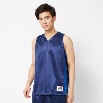 【FIVE UP】男款撞色剪接吸濕排汗籃球背心-深藍