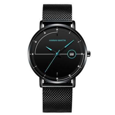 HANNAH MARTIN 白日夢想家鑲鑽刻度設計米蘭帶男錶-藍指針/40mm