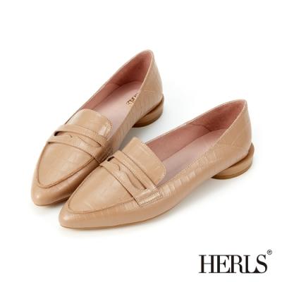 HERLS樂福鞋-兩穿全真皮鱷魚壓紋尖頭樂福鞋-奶茶色