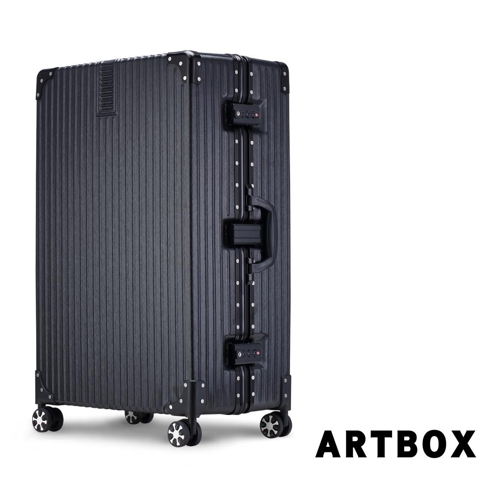 【ARTBOX】英倫復古 29吋 創新線條海關鎖鋁框行李箱(經典黑)