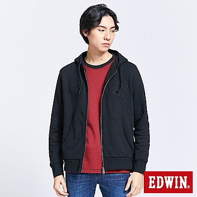 EDWIN 搖滾不死 貼布繡LOGO連帽外套-男-黑色