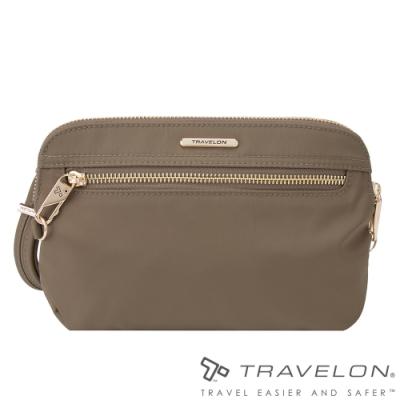 Travelon美國防盜包 都會小資女最愛實用型手持側肩兩用包(TL-43202沙褐)