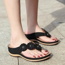 LN 立體花朵夾腳厚底涼拖鞋-3色