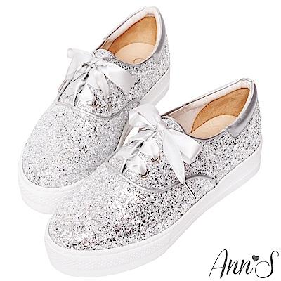 Ann'S緞帶蝴蝶結亮片碎石厚底休閒懶人鞋-銀