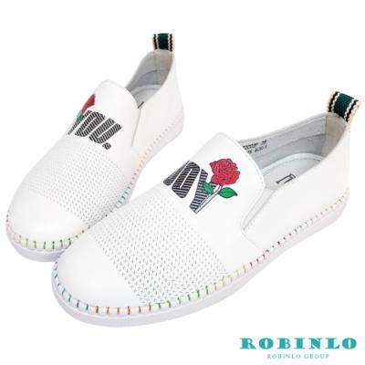 Robinlo清新花卉獨家沖孔平底休閒鞋 白色