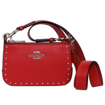 COACH紅色鉚釘荔枝紋全皮兩用迷你斜背小包