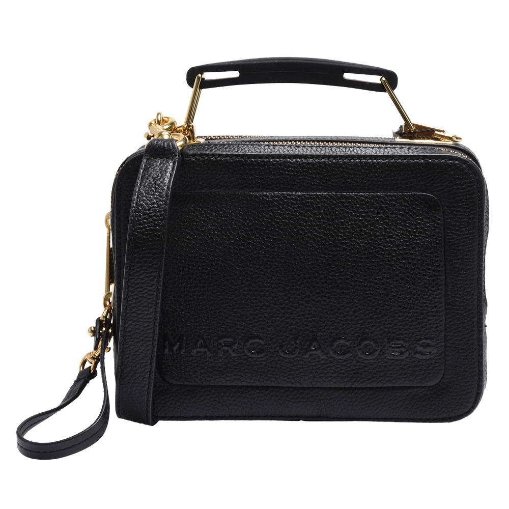 MARC JACOBS 經典品牌LOGO荔枝紋牛皮手提/斜背拉鍊箱包(迷你-黑)