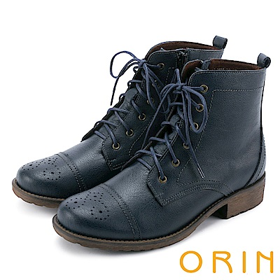 ORIN 中性街頭帥氣 蠟感壓紋牛皮綁帶短靴-藍色