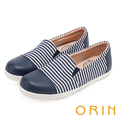 ORIN 引出度假氣氛 簡約條紋休閒平底便鞋-藍色