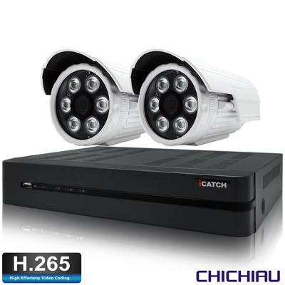 奇巧H.265 4路5MP iCATCH監控組含SONY1080P200萬鏡頭*2