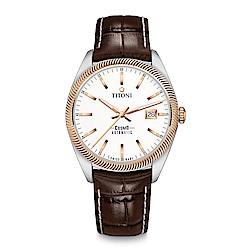TITONI瑞士梅花錶 宇宙系列(878 SRG-ST-606)白錶盤/褐色皮帶/41mm