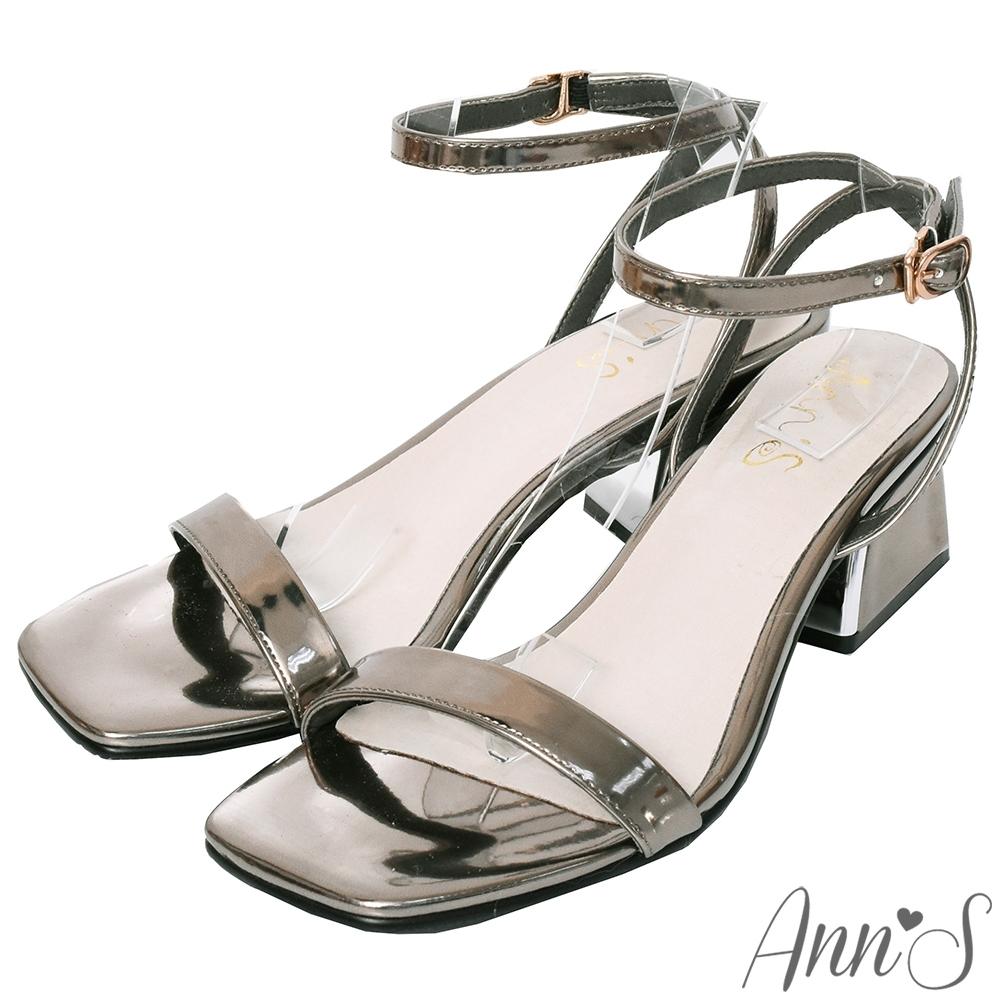 Ann'S不踩雷美腿製造機一字帶涼鞋-訂製金屬夾心粗跟-細帶4公分-銀