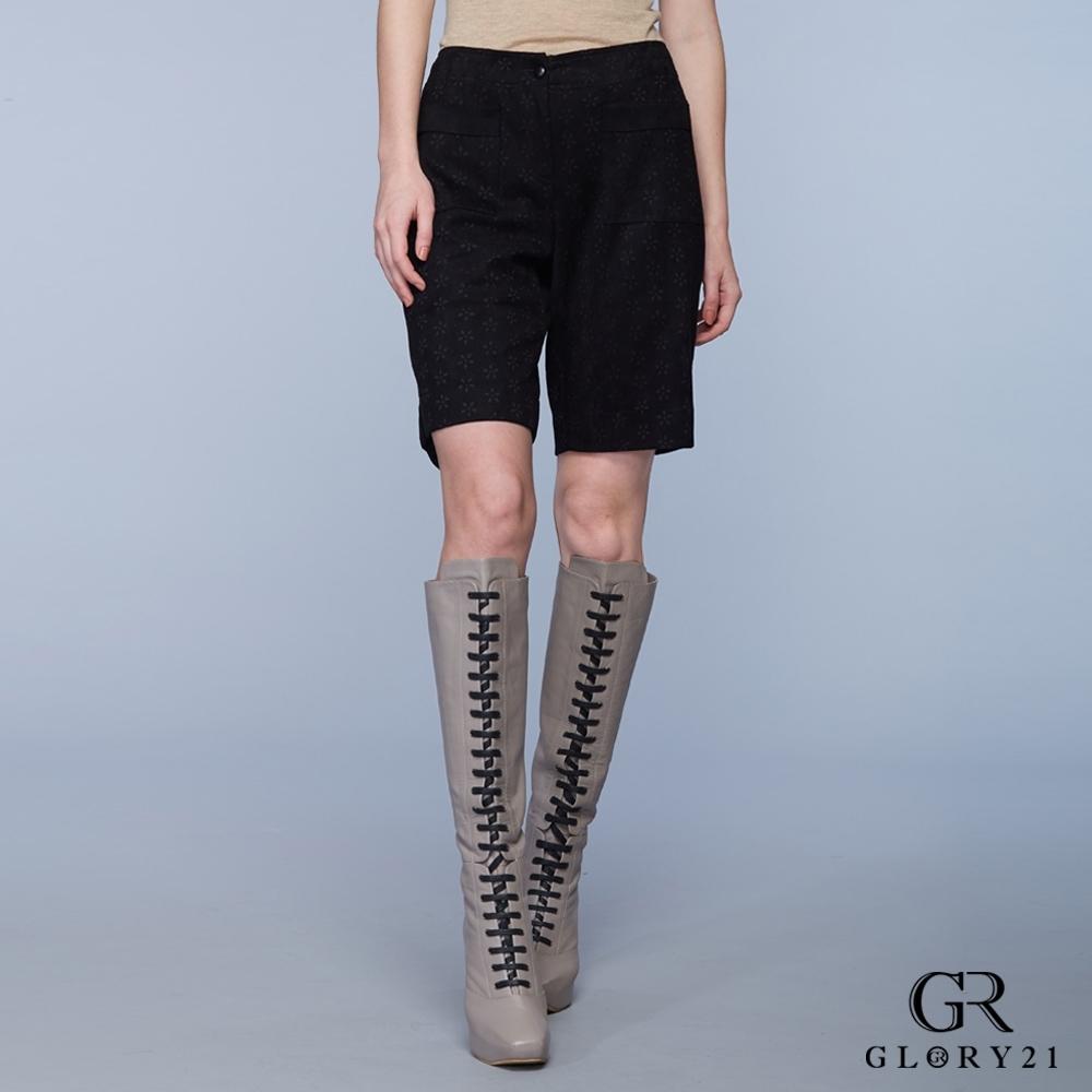 GLORY21麂皮雕花五分褲