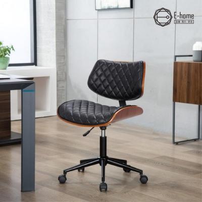 E-home Ace艾斯造型復古曲木電腦椅-黑色