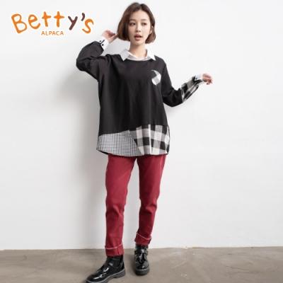 betty's貝蒂思 假2件拼接格紋上衣(黑色)