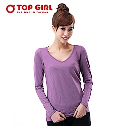 【TOP GIRL】V領條紋咖啡炭熱感T - 深情紫