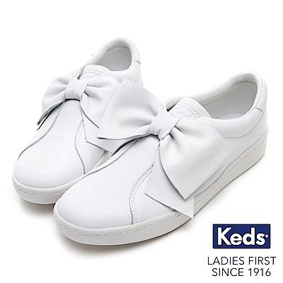 Keds 皮革蝴蝶結經典休閒鞋-白色