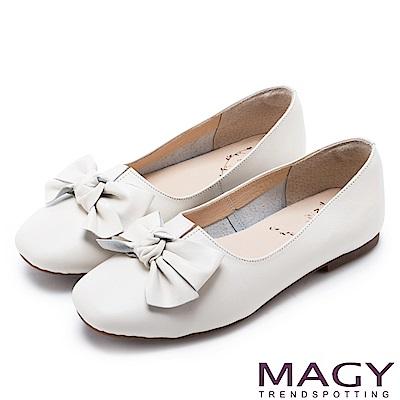 MAGY 甜美混搭新風貌 蝴蝶結扭結牛皮平底鞋-米白