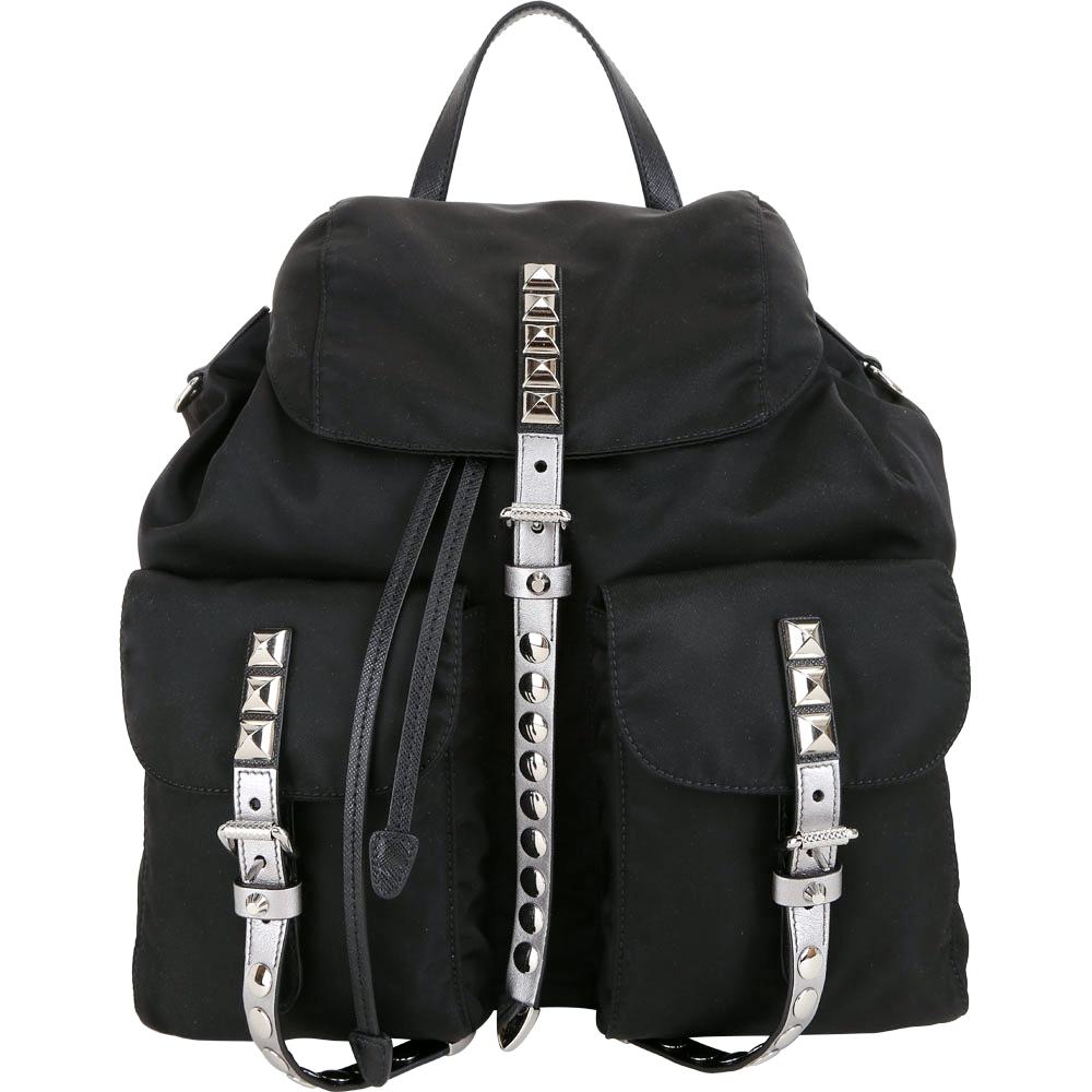 PRADA 銀白撞色皮革鉚釘尼龍後背包