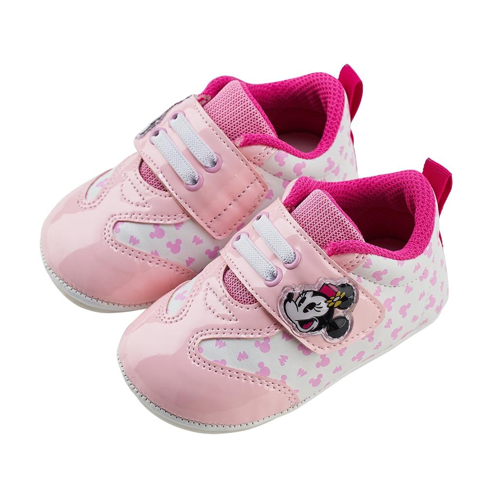 迪士尼童鞋 米妮 質感亮皮革寶寶學步鞋-粉