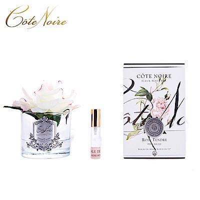法國 CoteNoire 蔻特蘭 大朵粉白玫瑰香氛花透明瓶