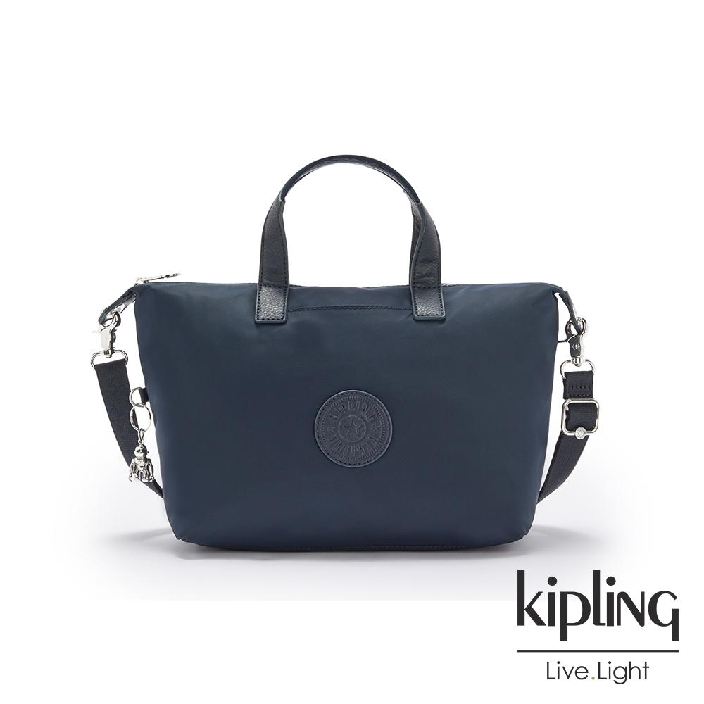 Kipling 質感沉穩藍簡約手提肩背托特包-KALA MINI