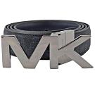 MICHAEL KORS 經典MK皮帶頭牛皮PVC雙面皮帶(深藍)