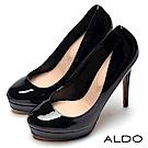 ALDO 原色亮面真皮鞋墊前高後高防水台高跟鞋~尊爵黑色
