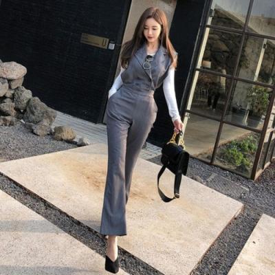IMStyle 時尚翻領帥氣縮腰連身褲(灰色)