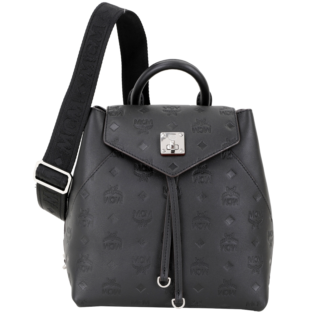 MCM Essential 小款 字母壓花皮革肩背/後背包(黑色/可替換背帶)