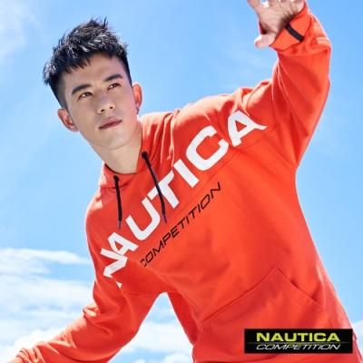 Nautica COMPETITION大LOGO連帽長袖T恤-橘色