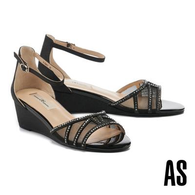 涼鞋 AS 奢華質感金蔥透膚水鑽楔型高跟涼鞋-黑