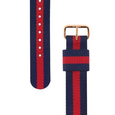 Daniel Wellington 玫瑰金扣尼龍錶帶- 藍x紅/18mm