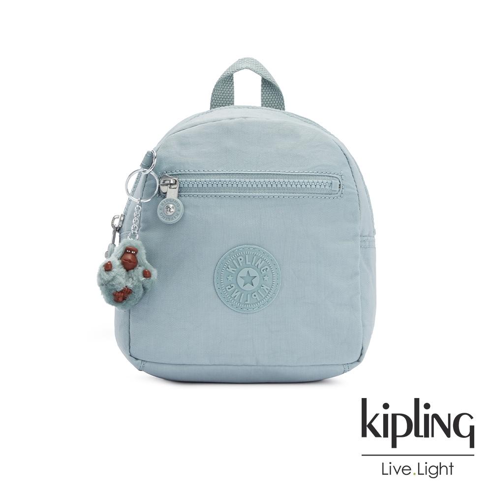 Kipling 歡樂繽紛藍簡約時尚拉鍊後背包-WINNIFRED