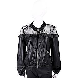 PINKO 蕾絲拼接黑色皮革外套