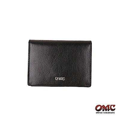 OMC 義大利進口牛皮精工翻蓋3卡透明窗名片夾-黑色