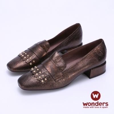 WONDERS-流蘇鉚釘小方跟-古銅金