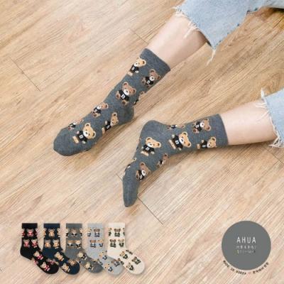阿華有事嗎  韓國襪子 滿版穿衣泰迪熊熊中筒襪 韓妞必備 正韓百搭純棉襪