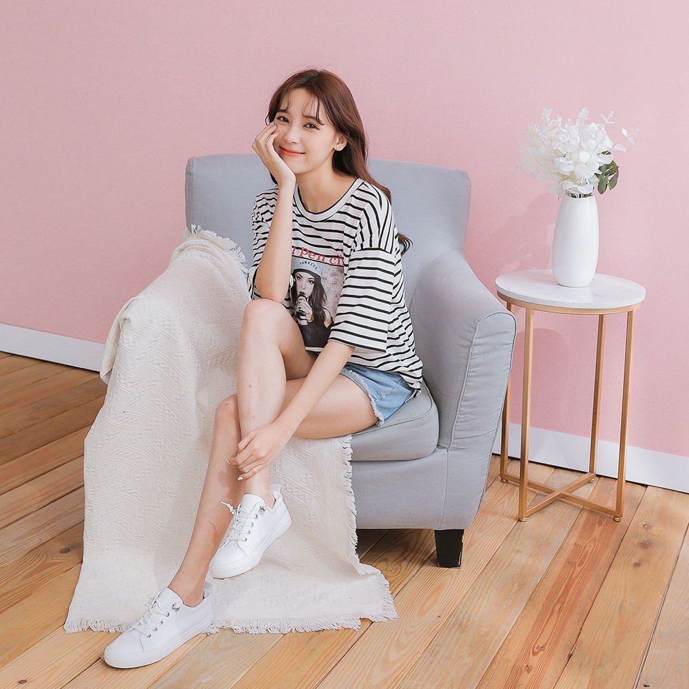 SUPER COLOR 俏麗百搭條紋印花T恤寬鬆上衣-條紋白